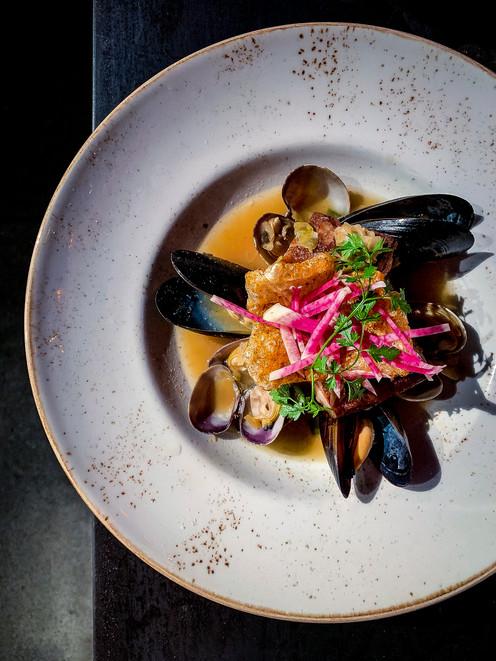 pork belly & mussles