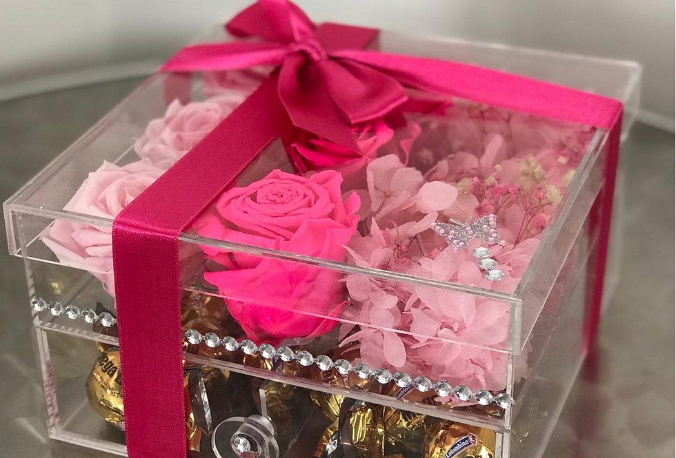 Cofre Cristal de rosas y chocolates