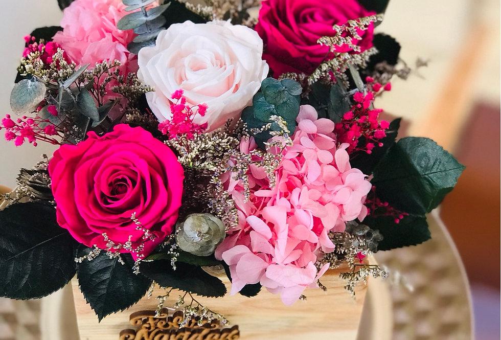 Cofres con chocolates y flores