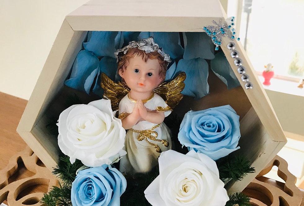 Angel de La guarda en exágono  color madera