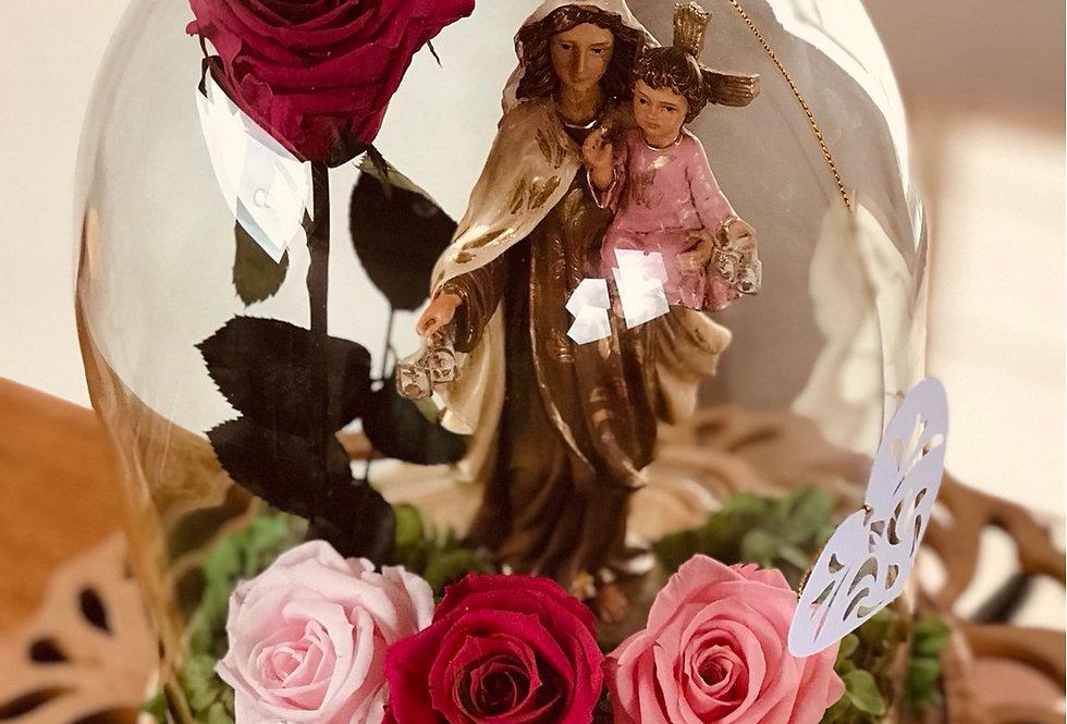 Virgen del Carmen en cúpula 25x20