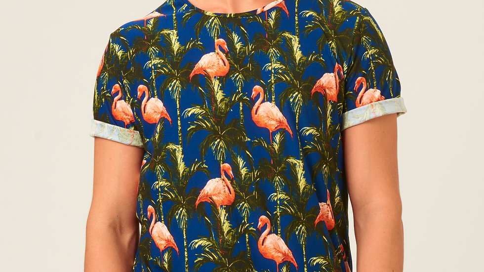 T-Shirt: Flamingos Azul