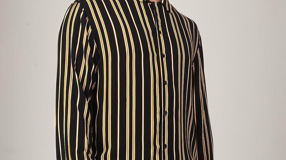 Camisa Modelo: LINEAS NEGRAS CON MOSTAZA