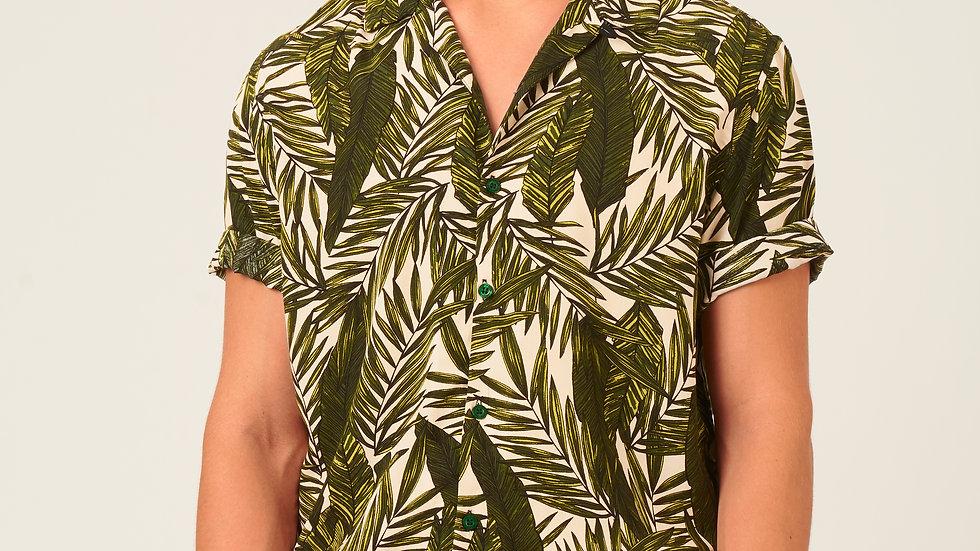 Camisa: Beige con Verde