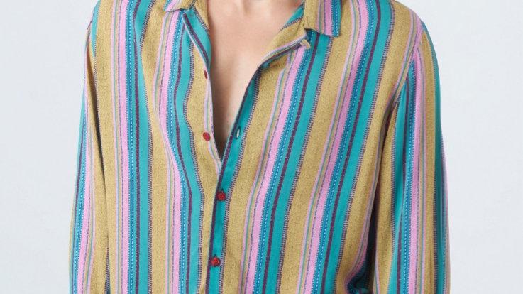 Camisa Modelo: LINEAS MOSTAZA CON TURQUESA