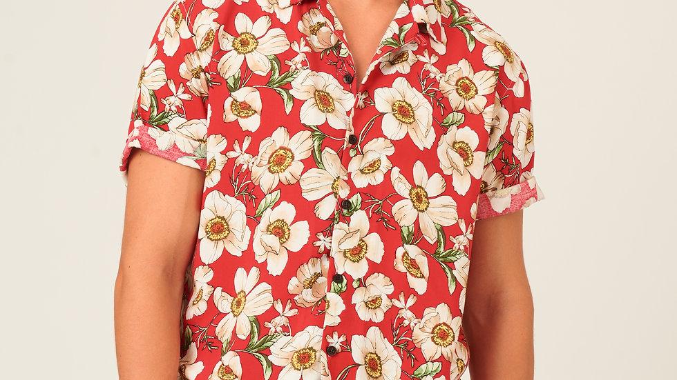 Camisa: Flores Rojas