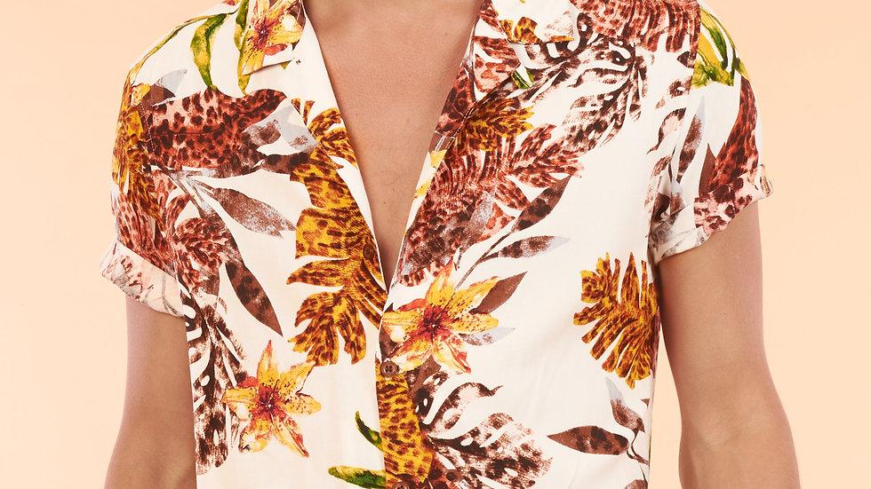 Camisa Modelo Perla con Flores Tropicales