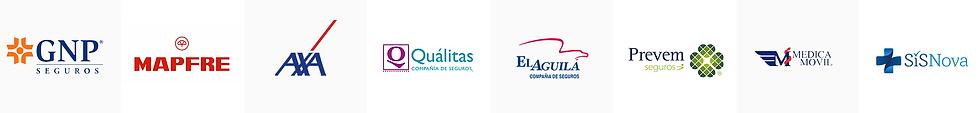 GNP, MAPFRE, AXA, QUALITAS, EL AGUILA. PREVEM SEGUROS. MEDICA MOVIL, SISNOVA