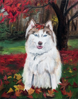 Nanook in Fall Leaves (SOLD)