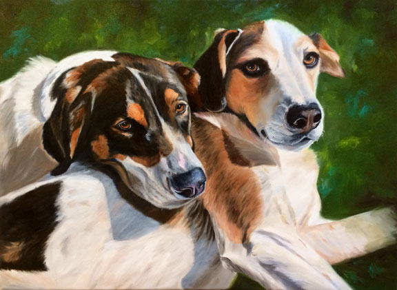 Toby & Quincy/Hounds in Green (SOLD)