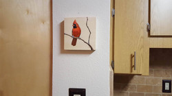 Male Cardinal on Wood Block