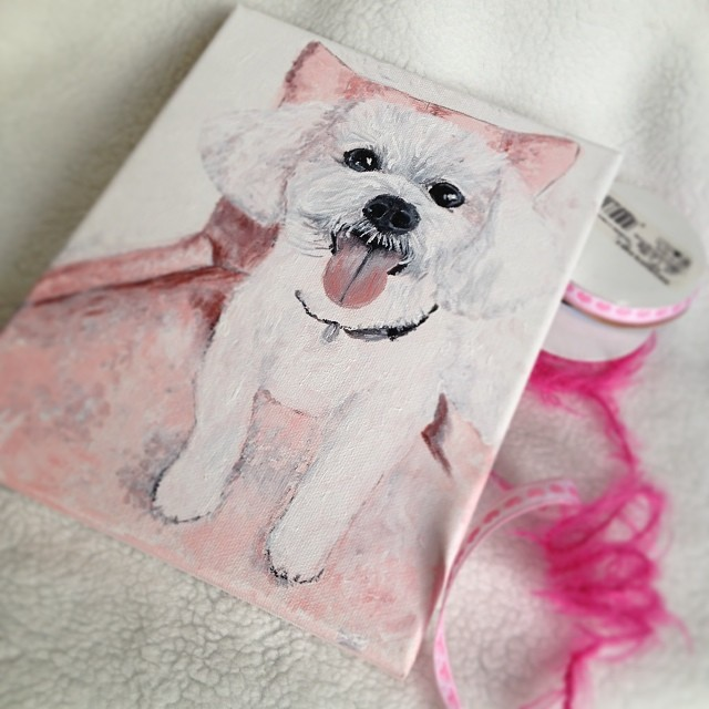 Bichon in Pink - Acrylic on Canvas