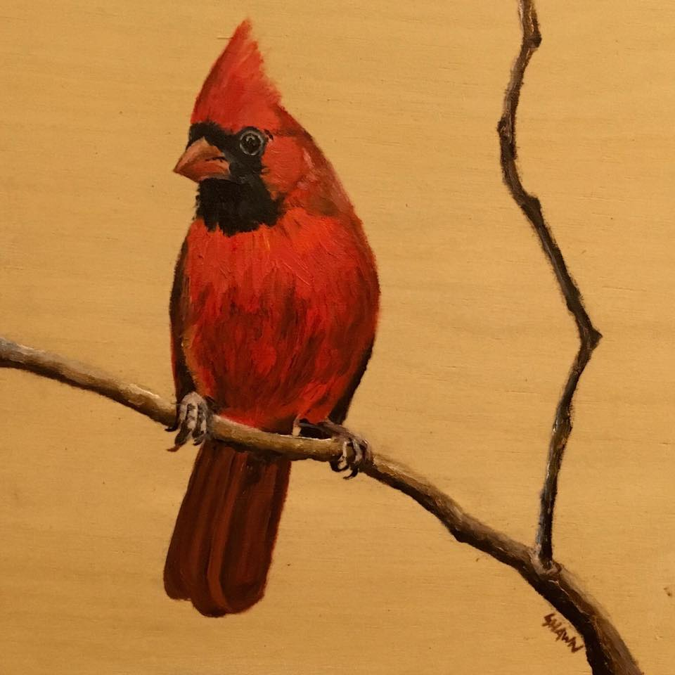 Male Cardinal Woodblock (SOLD)