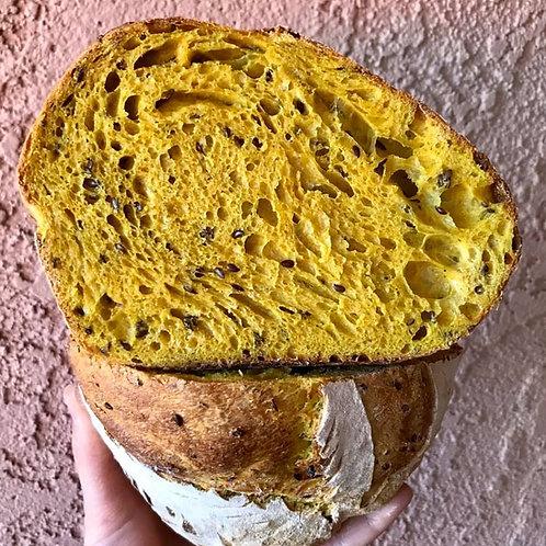 Turmeric and flax seed Bread
