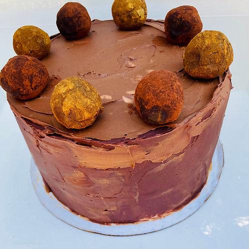 Almond, chocolate, coffee, caramel cake
