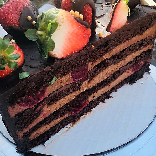 Chocolate Fudge& Raspberry Cake