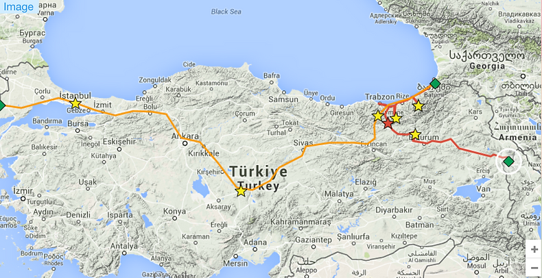 Carte Turquie itinéraire camping car