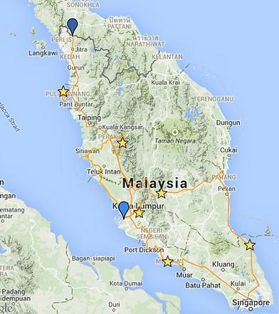 carte Malaisie itinéraire camping car