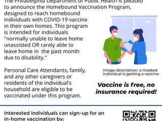 Covid-19 Vaccine for Homebound People, Their Caregivers, Family Members, and Residents!