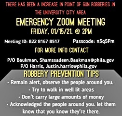 University City Gun Robberies Emergency Zoom Meeting