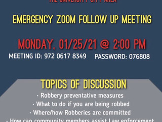 Monday, Jan. 25th, Philadelphia Police Dept. Zoom Meeting on recent University City Gun Robberies.