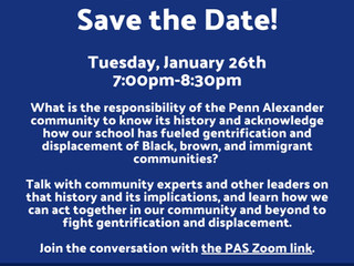 Penn Alexander School Promoting Zoom Meeting, Jan. 26, 7:00 PM, on Gentrification in University City