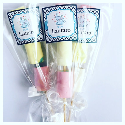 Brochetes c/marshmellows BB SHOWER en bolsita personalizada (Mín: 10 unidades)
