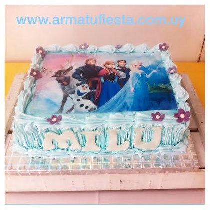 Torta 1 piso - 4 kg decorada con lámina comestible (envío GRATIS en Mont)