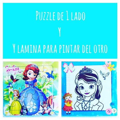 Puzzle + lámina p/colorear en reverso(CLICK PARA VER DETALLES)