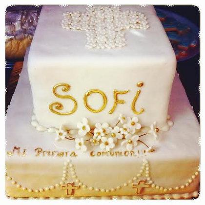 Torta religiosa modelada 2 pisos: 1 real de 4kg + 1 falso (envío GRATIS en Mont)
