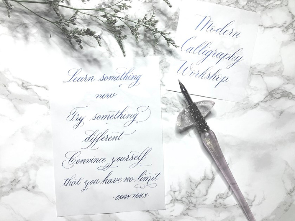 Handwritten calligraphy notes from a handwriting workshop