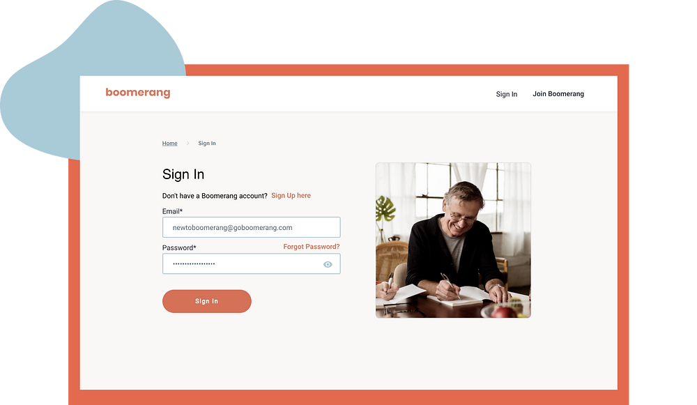Sign in page to access Boomerang workshops and classes