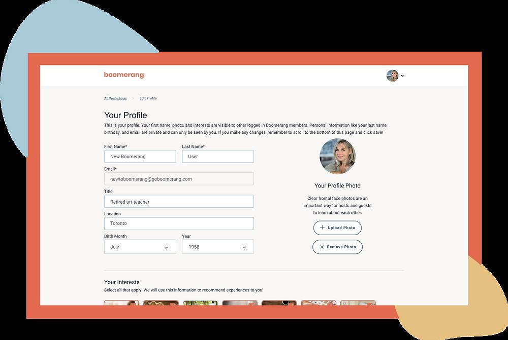 Profile registration page