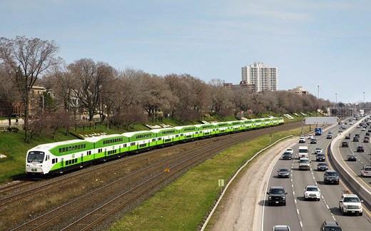 Go Transit trains in Toronto