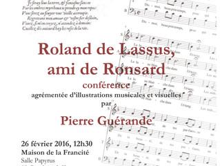 Roland de Lassus, ami de Ronsard