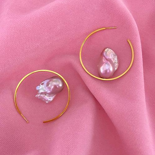 Pink Pearl Hoop