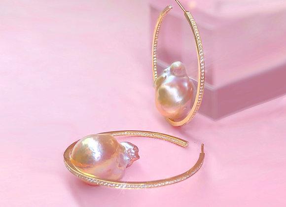Diamond Pearl Hoops