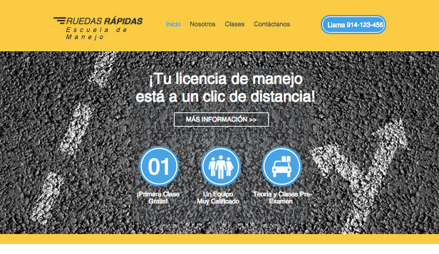 Autos y Transportes website templates – Escuela de manejo