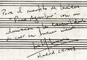Dedicatoria de Jose Luis Turina al Cuarteto Aguilar