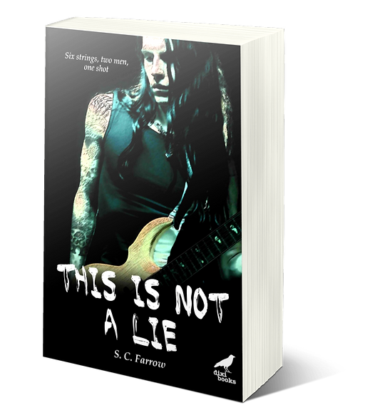 Cover of the novel This is Not a Lie. Image of a long-haired guitarist on a black background.