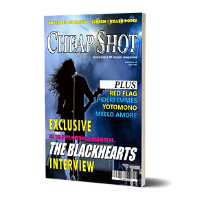 Cover of magazine featuring a rock guitarist on a blue lit stage as well as article headlines.