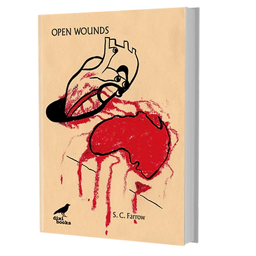 Cover of Open Wounds. Mustard coloured background with a stylised heart bleeding on a stylised map of Australia