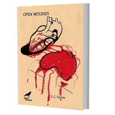 Cover of Open Wounds. Yellow background with a stylised heart bleeding on a map of Australia.