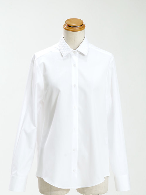 women's woven grosgrain collar long sleeve shirt