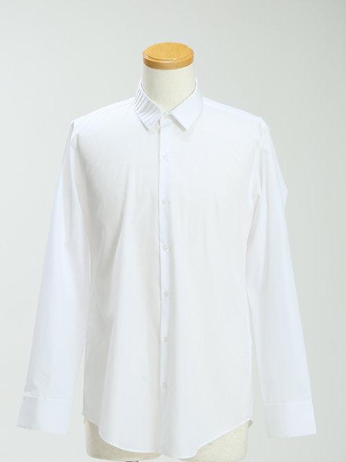mens' pleated collar long sleeve shirt