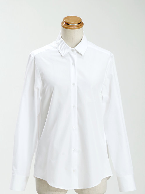 women's pleated collar long sleeve shirt