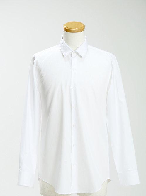 men's woven grosgrain collar long sleeve shirt