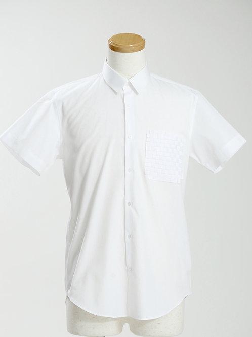 men's woven grosgrain pocket short sleeve shirt