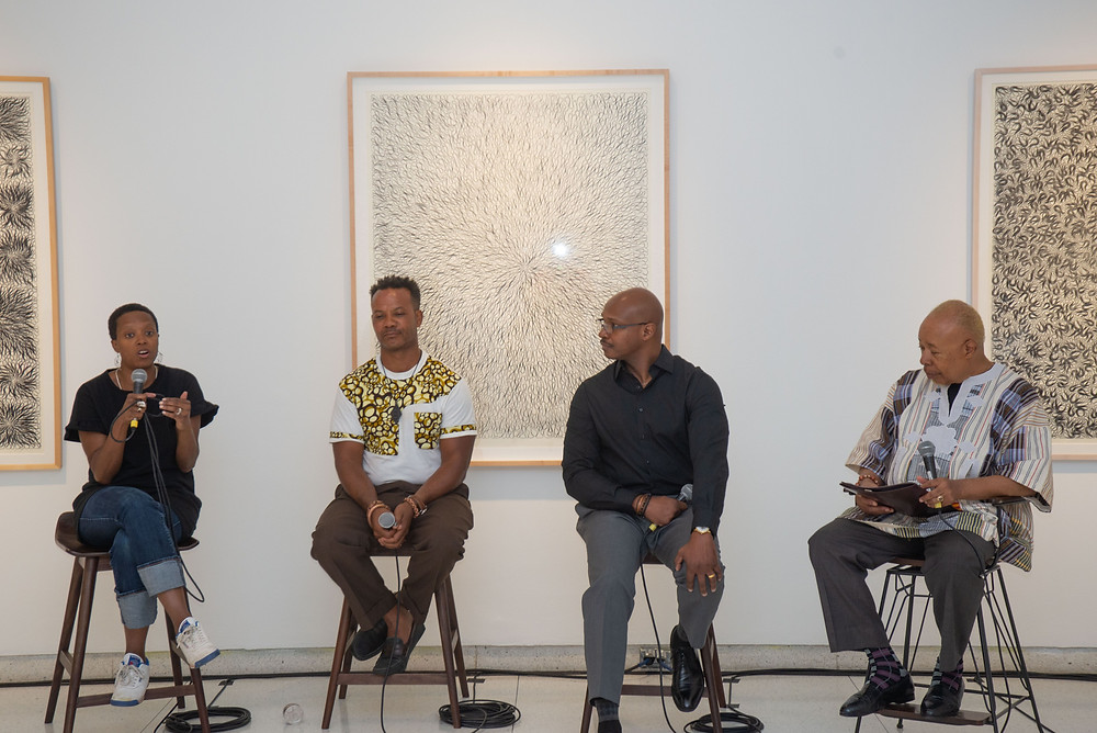 ArtSmart panelists from l to r: Amanda William, Andre Guichard and Russell Harris. Moderator: Daniel T. Parker, co-founder Diasporal Rhythms.