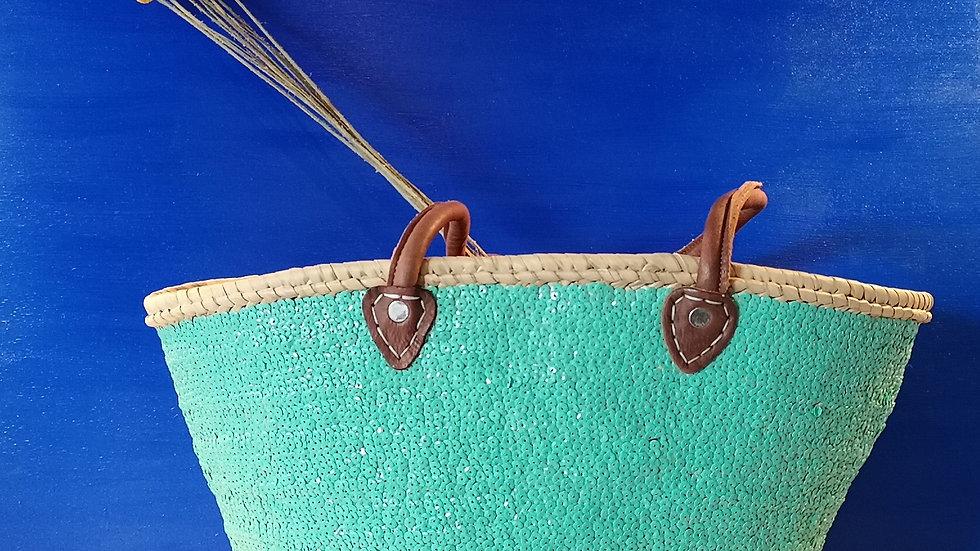 Cabas à sequins vert menthe